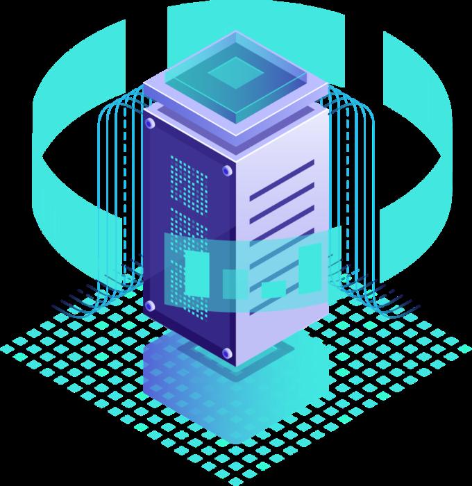 Technische afbeelding met een server